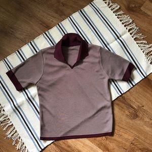 Women's vintage spandex/Nylon Crop Polo S/M
